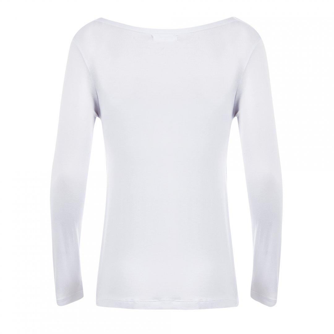 Blusa para amamentar branca com gola boba, em destaque sem modelo.