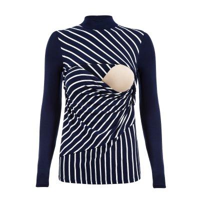 Apenas a blusa para amamentar listrada, na cor azul marinho, sem nenhuma modelo.