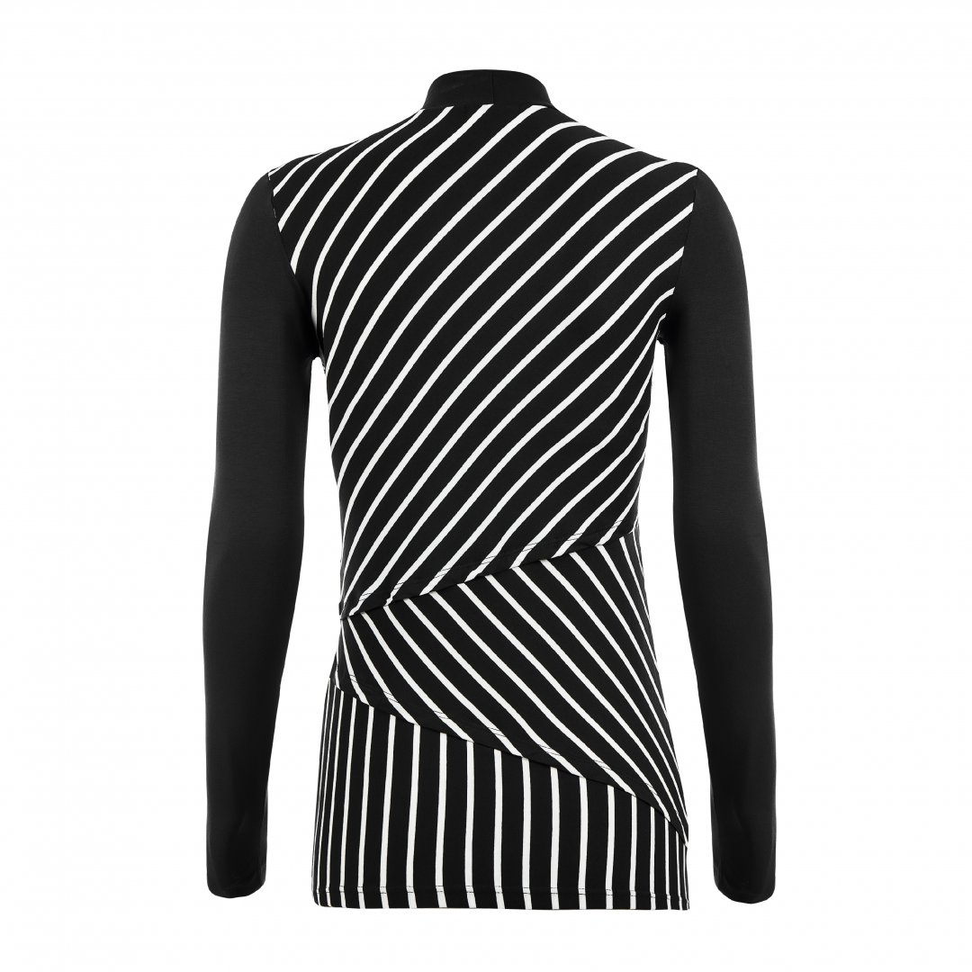 Apenas a blusa para amamentar listrada, na cor preta, sem nenhuma modelo.