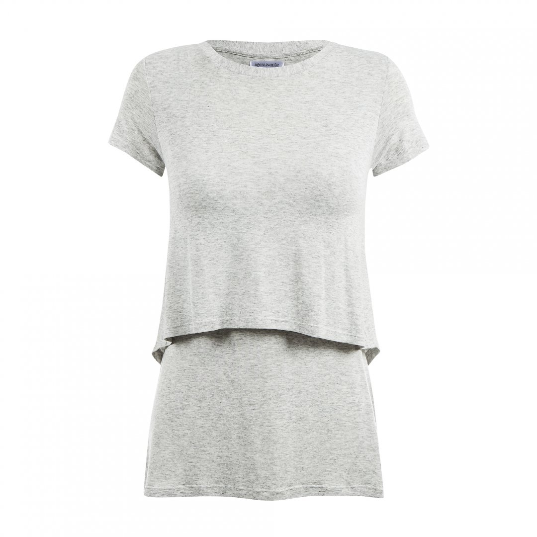 Blusa para amamentar com gola ampla na cor mescla, em destaque sem modelo.