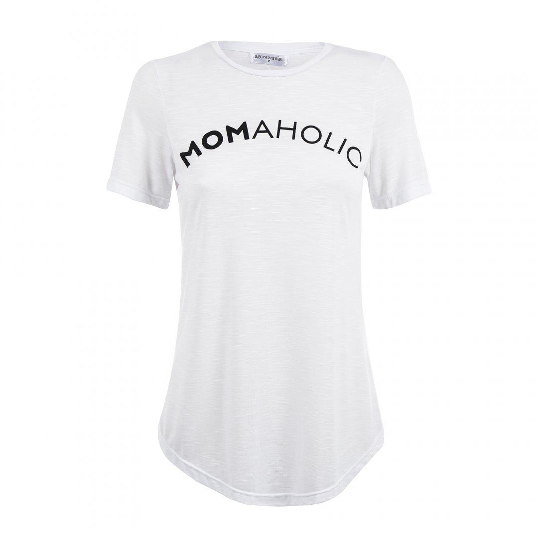 Camiseta para grávidas branca com estampa, em destaque sem modelo.