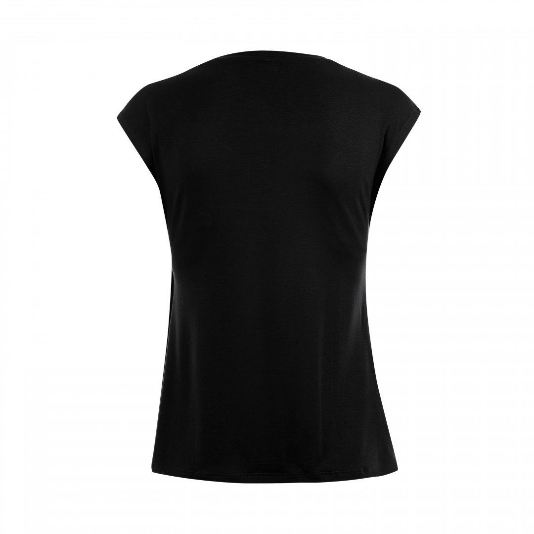Apenas a blusa para amamentar preta. A blusa possui sobreposição transpassada e arredondada para facilitar a amamentação.