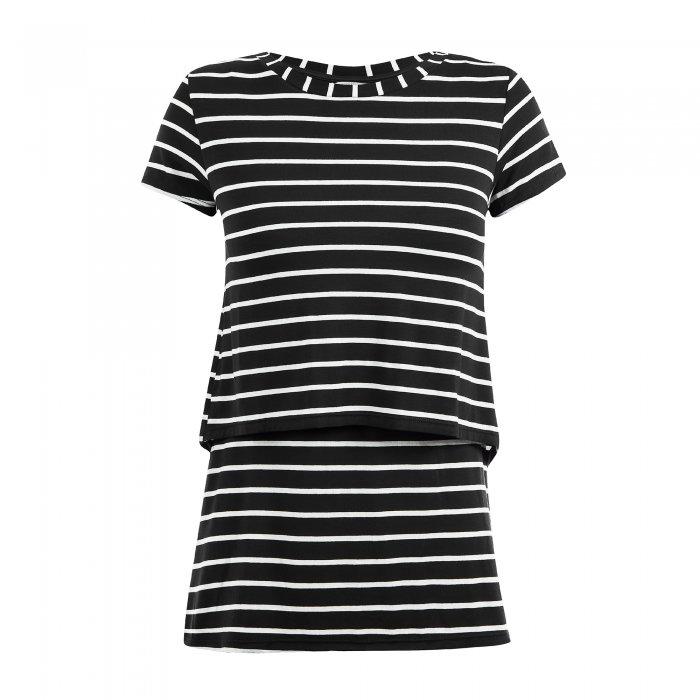Blusa para amamentar preta listrada. A blusa está em destaque sem nenhuma modelo vestindo-a.