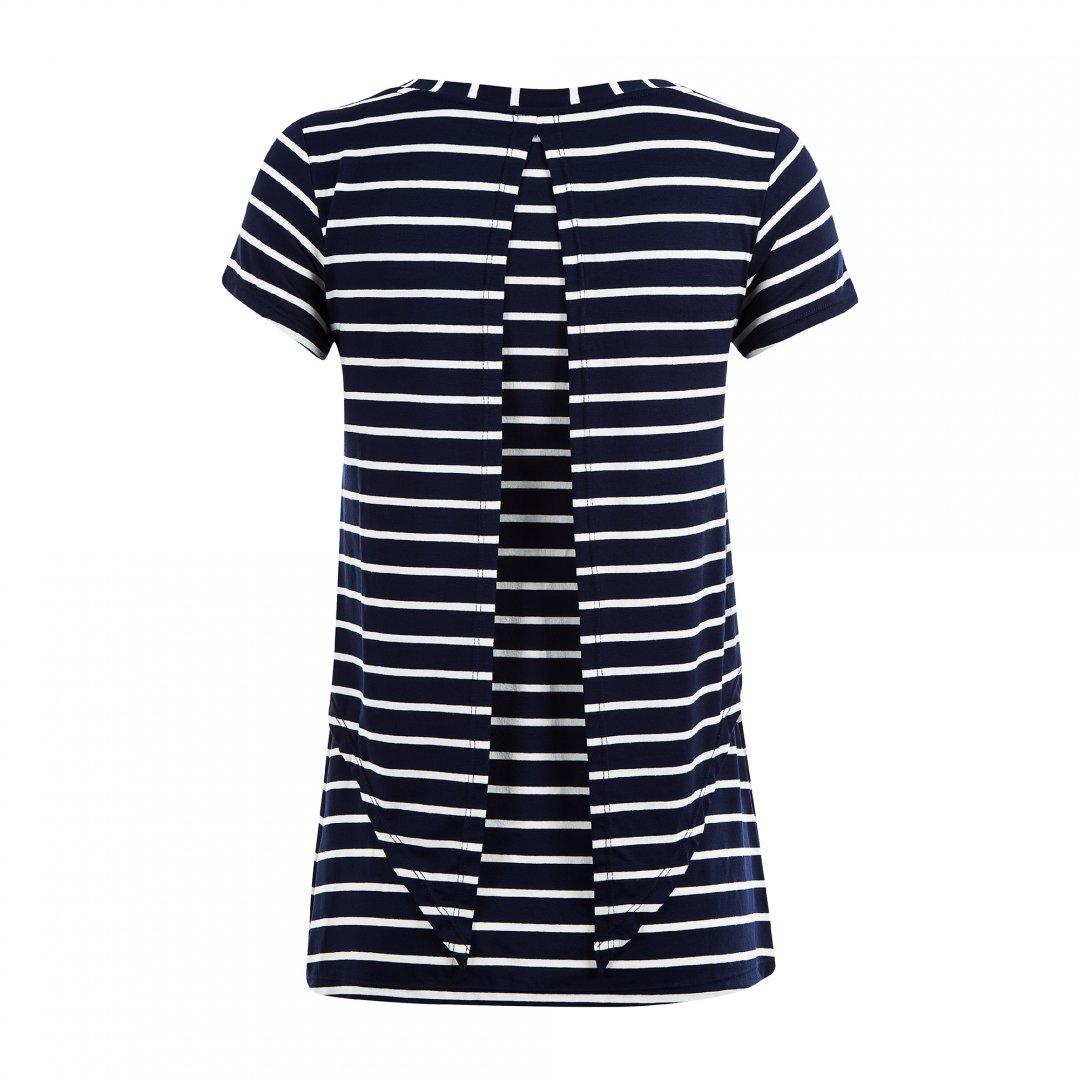Blusa para amamentar listrada feita em malha. A blusa está em destaque sem nenhuma modelo vestindo-a.