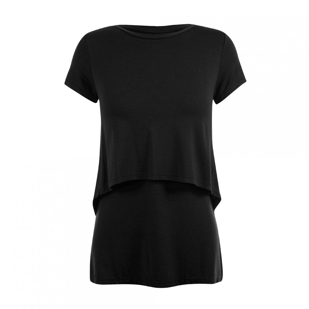 Apenas a blusa para amamentar preta. A blusa possui sobreposição para facilitar a amamentação.