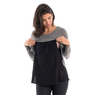 Detalhe de como amamentar com a blusa para amamentar com mix de texturas e sobreposição mescla.