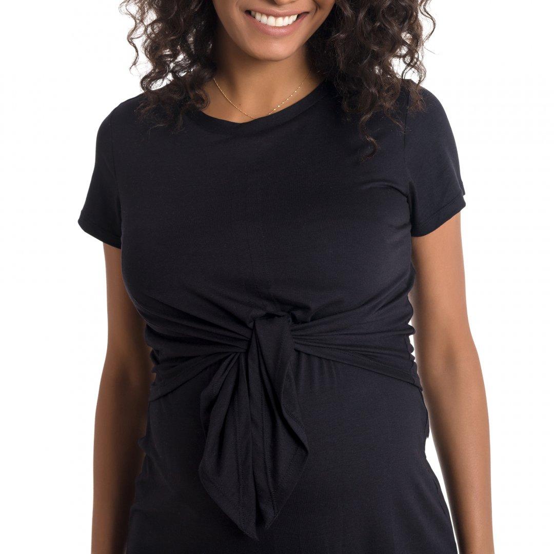 Blusa para amamentar detalhe do tecido, blusa com sobreposição na região do busto na cor preta.