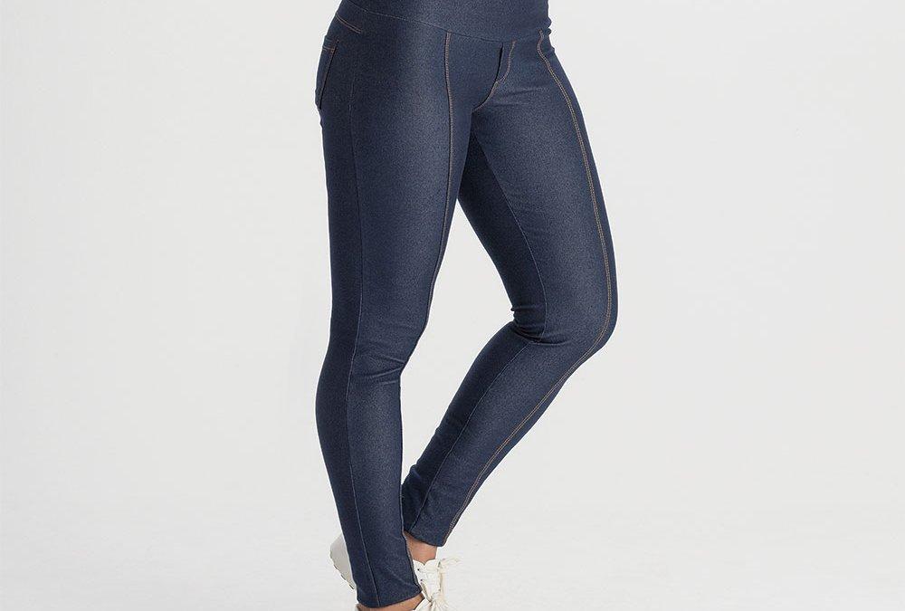 Legging Gestante Jeans de Moletom ÍNDIGO